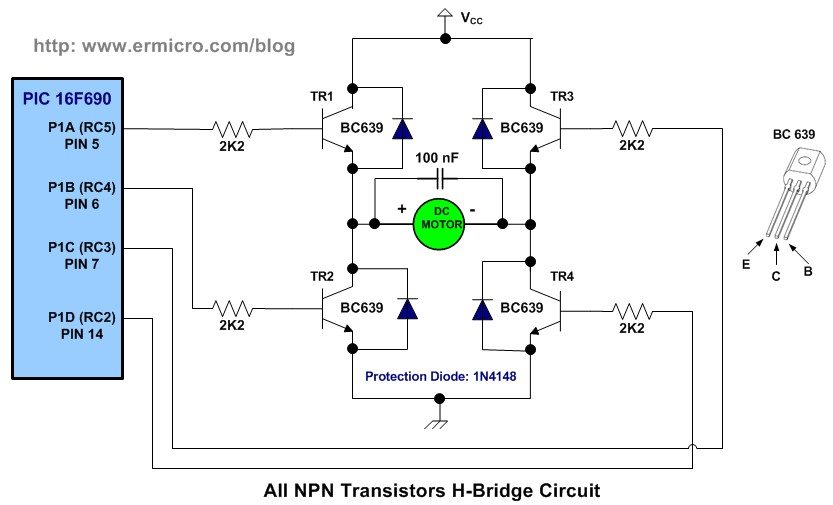 hbridge microchip pic microcontroller pwm motor controller, wiring diagram