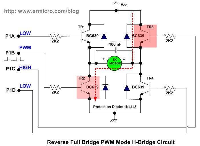 h bridge microchip pic microcontroller pwm motor controller on the reverse