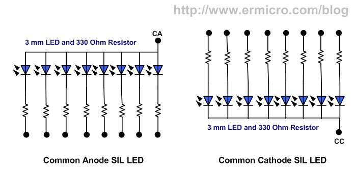 single in line  sil  led display for your microcontroller based project