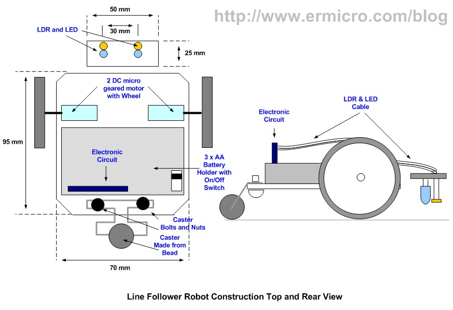 build your own transistor based mobile line follower robot lfr rh ermicro com