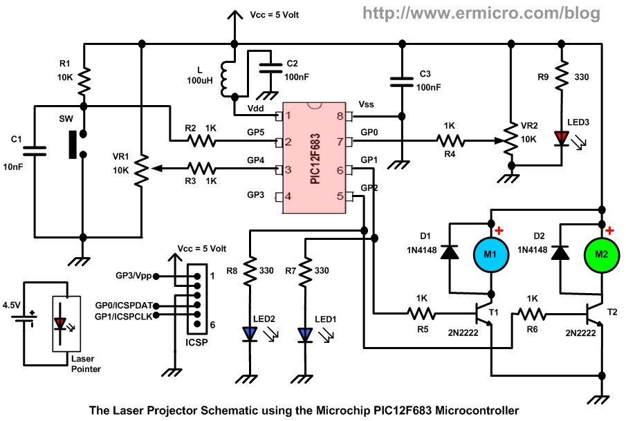 building your own simple laser projector using the microchip pic12f683 microcontroller
