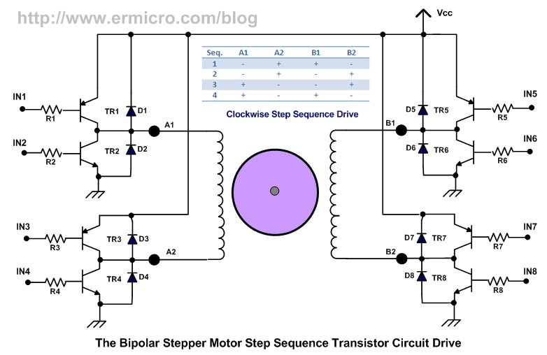 Alex9ufo using transistor as a switch for Bipolar stepper motor driver circuit