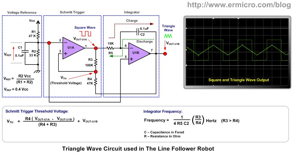The lm324 quad op amp line follower robot with pulse width to generate the triangle wave asfbconference2016 Gallery