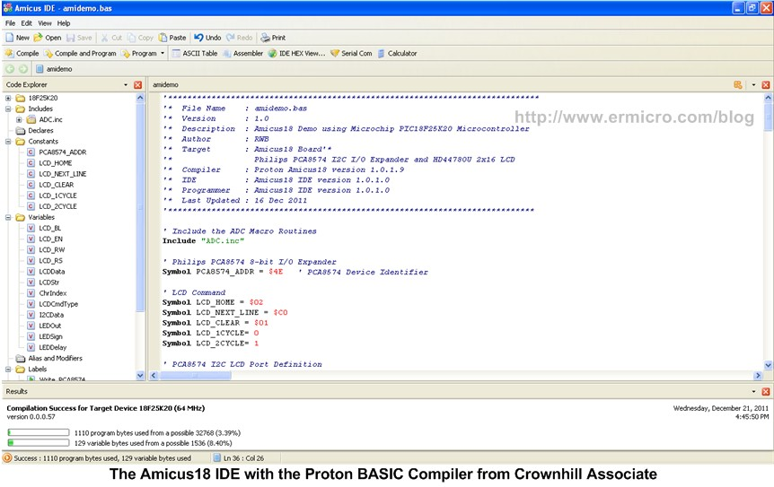 Developing Embedded Application with BASIC Language on the