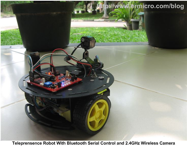 Telepresence Robot using Microchip PIC16F1829 and Atmel AVR